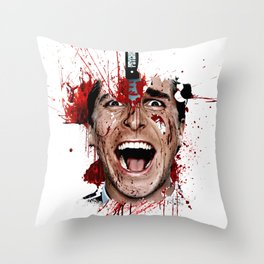 American Psycho Patrick Bateman serial killer digital artwork Throw Pillow