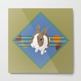 Rabbit Portrait with 5 Elements Colour Metal Print