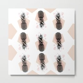 Pineapple and geometricos Metal Print