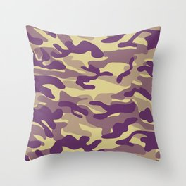 Purple Military Camouflage Pattern Throw Pillow