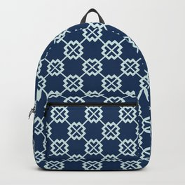 Square Motif Grid Japanese Style Hand Drawn Indigo Quilt Backpack