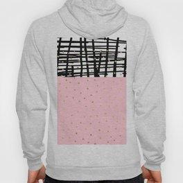 Modern geometrical black pink faux gold polka dots Hoody