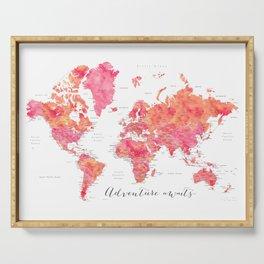 "Adventure Awaits watercolor world map in hot pink and orange, ""Tatiana"" Serving Tray"