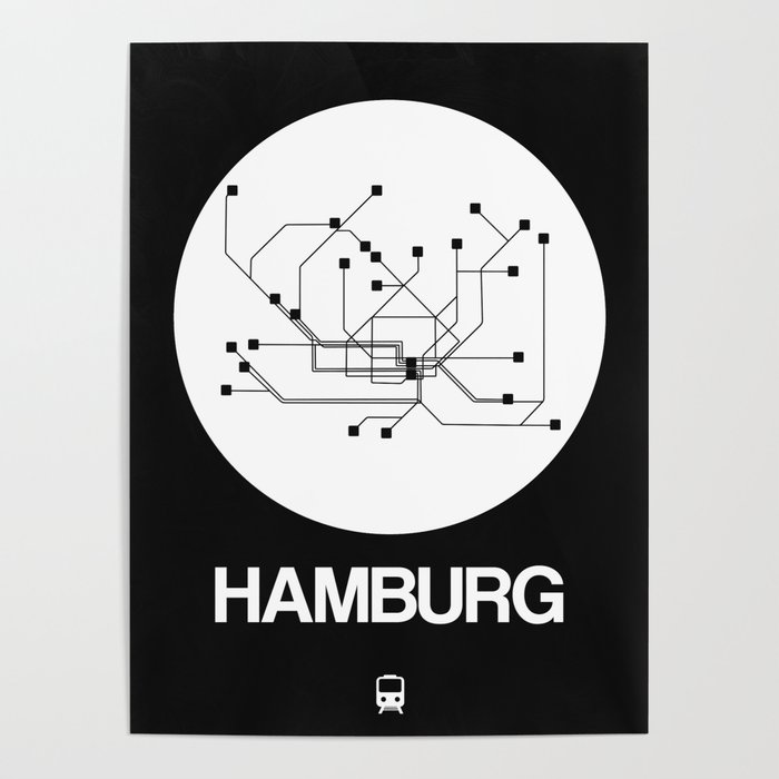 Hamburg Subway Map.Hamburg White Subway Map Poster By Naxart