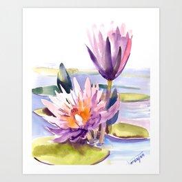 Water Lily,  Lotus, Asian Ink drawing Zen brush pink purple flower Art Print