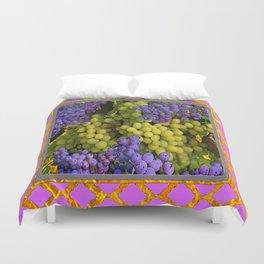 Pink Pattern Decorative Purple-Green  Grapes Art  Duvet Cover