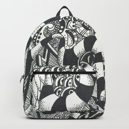 Watercolor Heart with Black and White Doodles Backpack