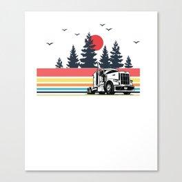 Vintage Retro Trucker Truck Driver Dad Wife Girlfriend Pullover Hoodie Canvas Print