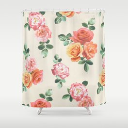 Retro Peach and Pink Roses Shower Curtain