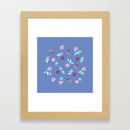 Clover Flowers on Periwinkle Blue Framed Art Print