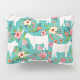 Charolais cattle farm must have gifts homesteader cow breeds florals Pillow Sham