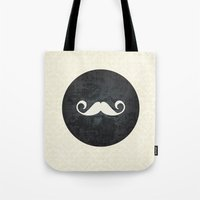 moustache Tote Bags featuring moustache by StudioAmpersand