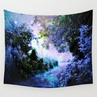 fantasy Wall Tapestries featuring fantasy garden Periwinkle by 2sweet4words Designs