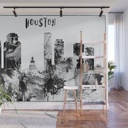 Black And White Houston City Skyline Wall Mural
