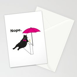 Nope Lazy Cat T-Shirt Stationery Cards
