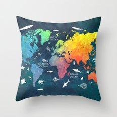 Ocean World Map color Throw Pillow