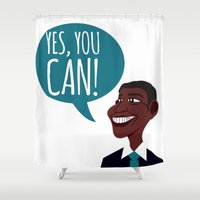 obama Shower Curtains featuring OBAMA by artic