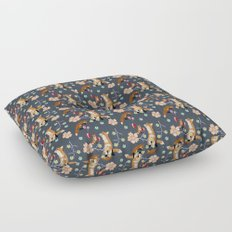 Fox and flowers Floor Pillow
