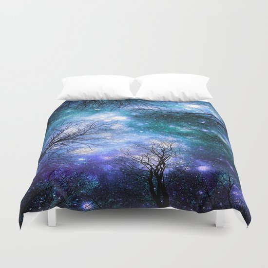Black Trees Teal Violet Space Duvet Cover