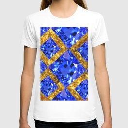 ASYMMETRIC ROYAL BLUE SAPPHIRE GEMSTONES ART ON GOLD T-shirt