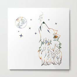 Wolf howling on moon sketch Metal Print