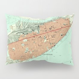 Vintage Map of Galveston Texas (1954) 3 Pillow Sham
