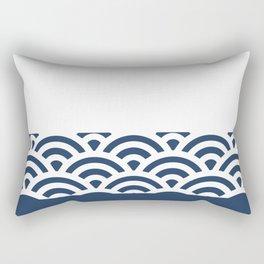 Rainbow Trim Deep Blue Rectangular Pillow