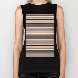 Mixed Striped Design Browns Taupe Creams Biker Tank