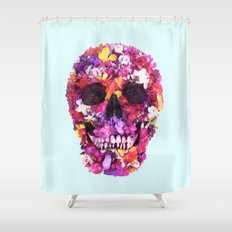 FLOWERS SKULL Shower Curtain