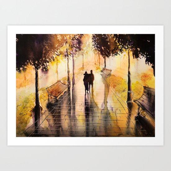 Promenade after the rain Art Print
