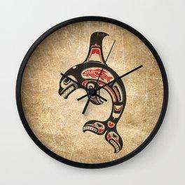 Red and Black Haida Spirit Killer Whale Wall Clock
