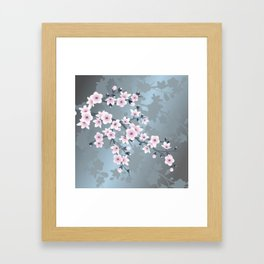 Dusky Pink Grayish Blue Cherry Blossom Framed Art Print