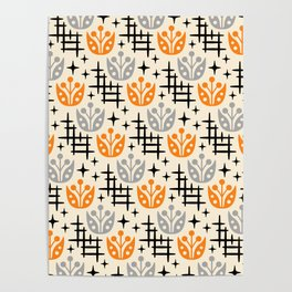 Mid Century Modern Space Flower Pattern Orange and Gray Poster