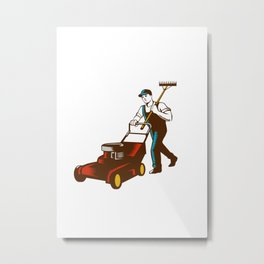 Gardener Lawn Mower Rake Woodcut Metal Print