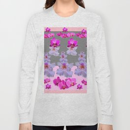 PURPLE  FUCHSIA ORCHIDS  SPRINKLES ON  GREY-PINK ART Long Sleeve T-shirt