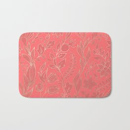 Living Coral - Color of the year- Leaves 2 Bath Mat
