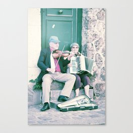 Old School Busking Canvas Print