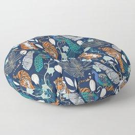 Tiger Toile on Navy Floor Pillow