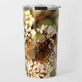 Buckeye Butterfly On Pale Pink Flowers Travel Mug