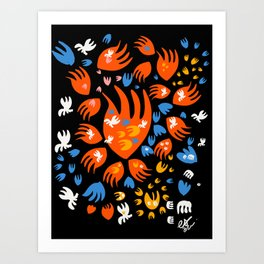 Magic Abstract Happy Creatures in the Night by Emmanuel Signorino Art Print