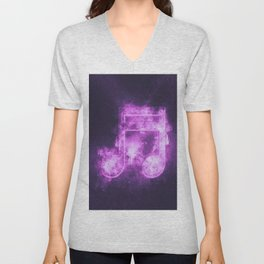 Sixteenth beamed music note symbol. Abstract night sky background Unisex V-Neck