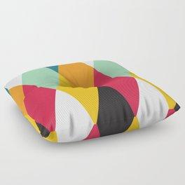 Geometric Pattern 27 (yellow orange red green) Floor Pillow