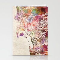 san diego Stationery Cards featuring San Diego by MapMapMaps.Watercolors