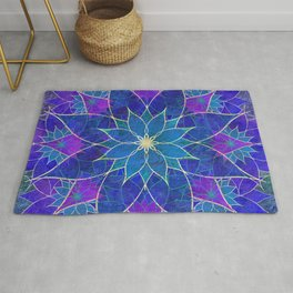 Lotus 2 - blue and purple Rug