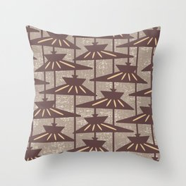 Mid Century Modern Pendant Lamp Composition Beige and Brown Throw Pillow