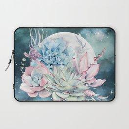 Beautiful Succulents Full Moon Teal Pink Laptop Sleeve