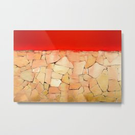 Urban Tiled Wall and Red Paint Metal Print