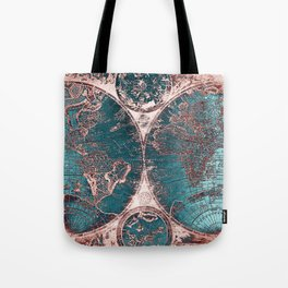 Antique World Map Pink Quartz Teal Blue by Nature Magick Tote Bag