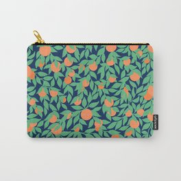 Oranges and Leaves Pattern - Navy Blue Carry-All Pouch