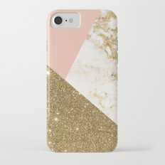 Gold marble collage iPhone 7 Slim Case